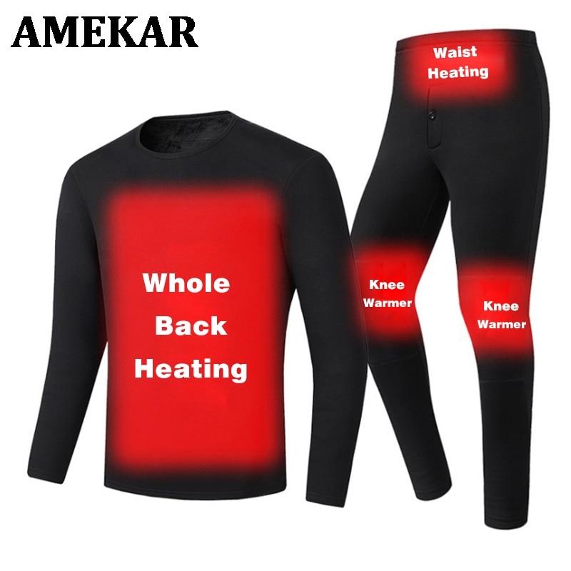 الشتاء USB التدفئة الثلوج الملابس الداخلية مجموعة الرجال الدافئة ساخنة الملابس التزلج التنزه بناطيل تزلج الذاتي الحرارة دعوى 4XL 5XL