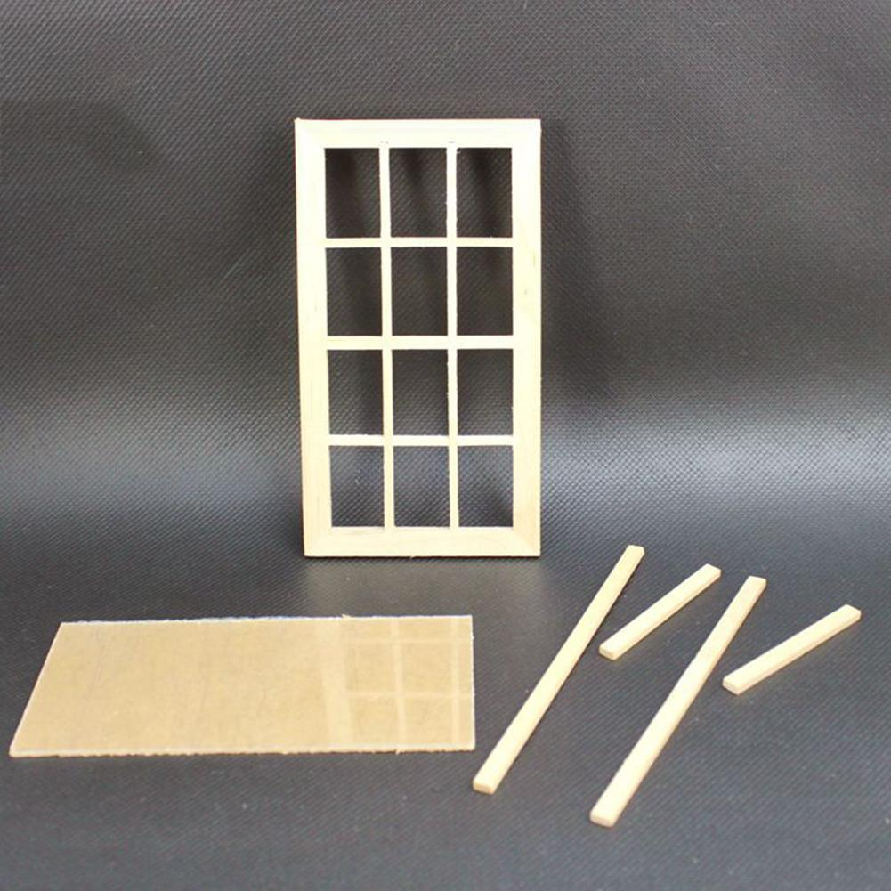 1/12 Scale Dollhouse Miniature 12 Pane Blank Window Frame DIY Bedroom Accessory