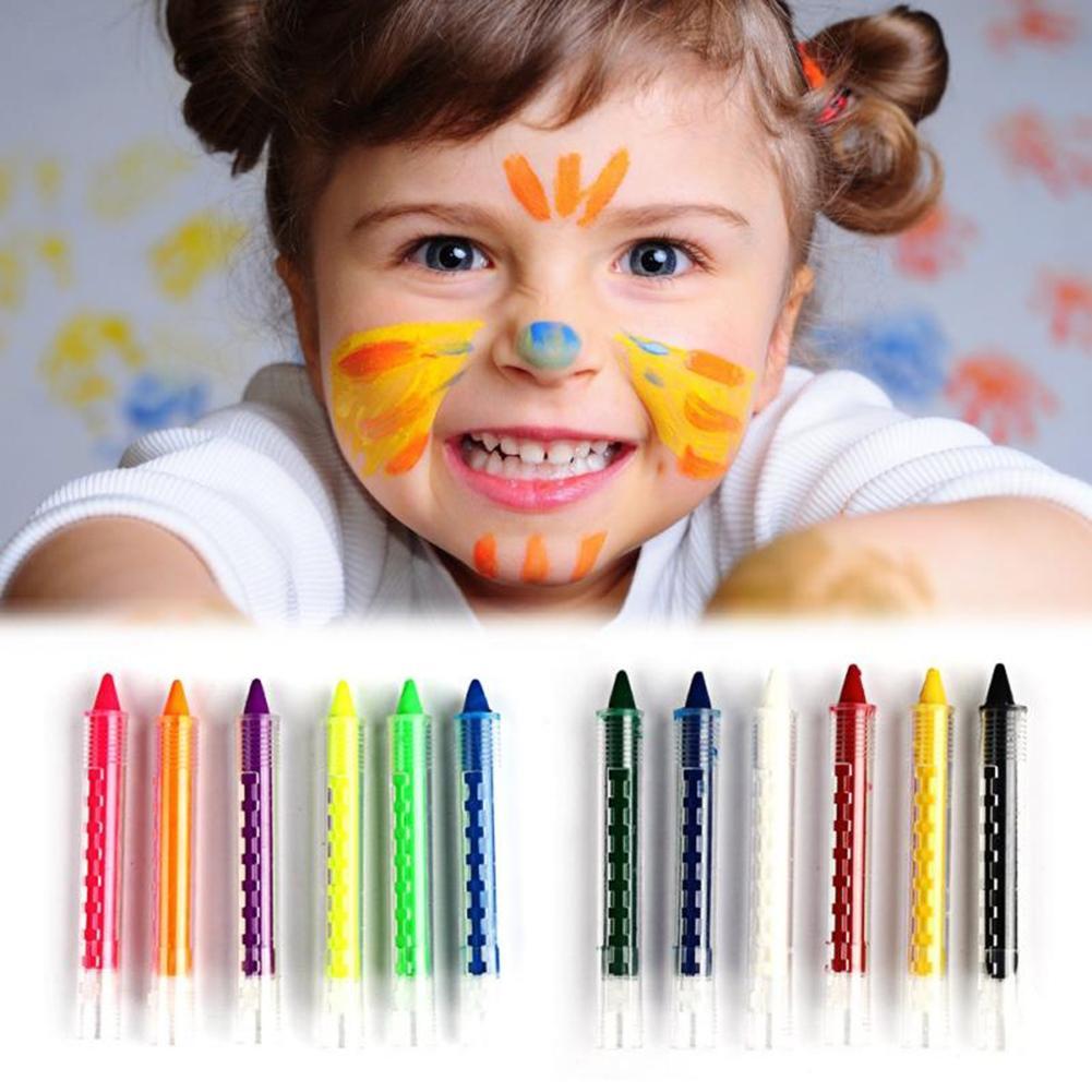 Caneta pintura facial, 6 cores, emenda, estrutura, pintura facial, crayon, natal, para crianças, para festa, maquiagem