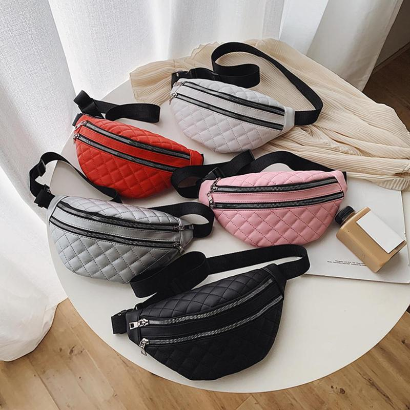 Fashion PU Leather Shoulder Waist Bag Women Fanny Belt Pack Casual Crossbody Chest Bags Double Zipper Phone Pouch Bolsas Mujer