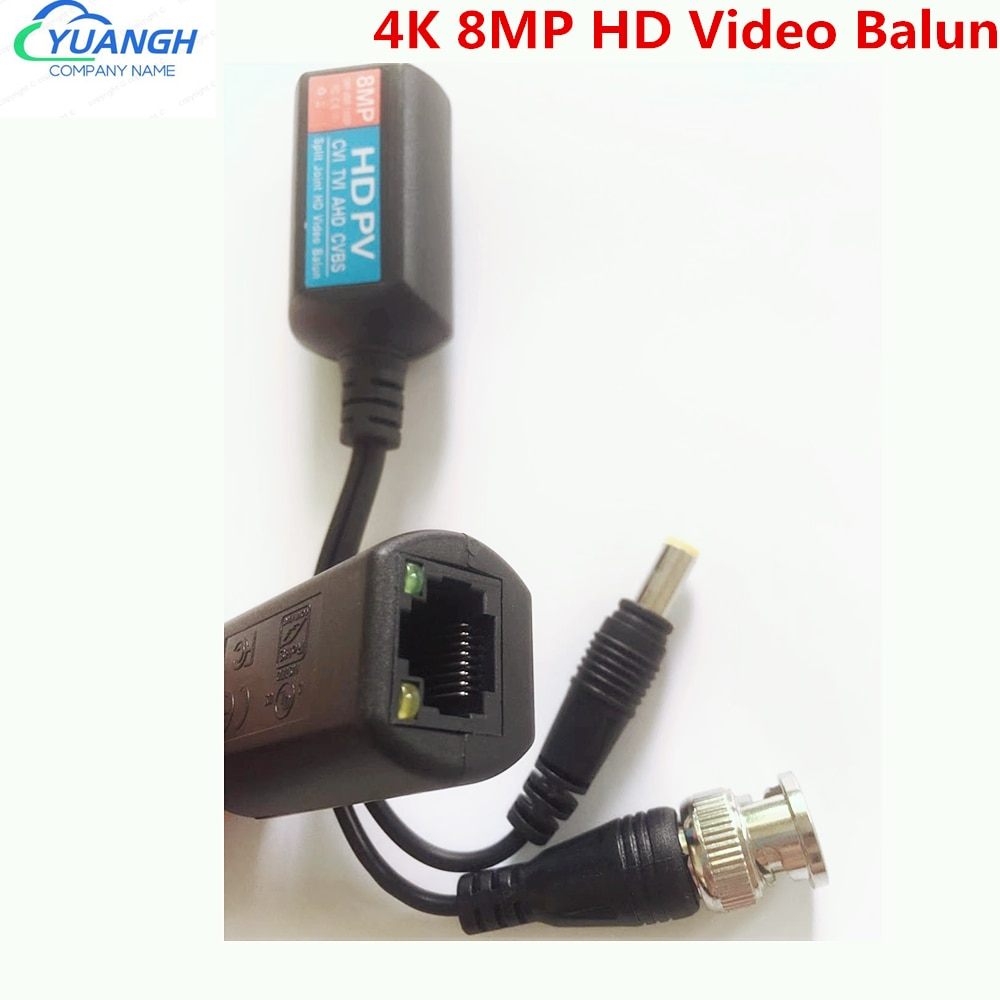 10 пар 4K 8 Мп HD Video Balun, пассивная передача, передатчик с витой парой BNC к RJ45 Balun для HDCVI TVI AHD камеры