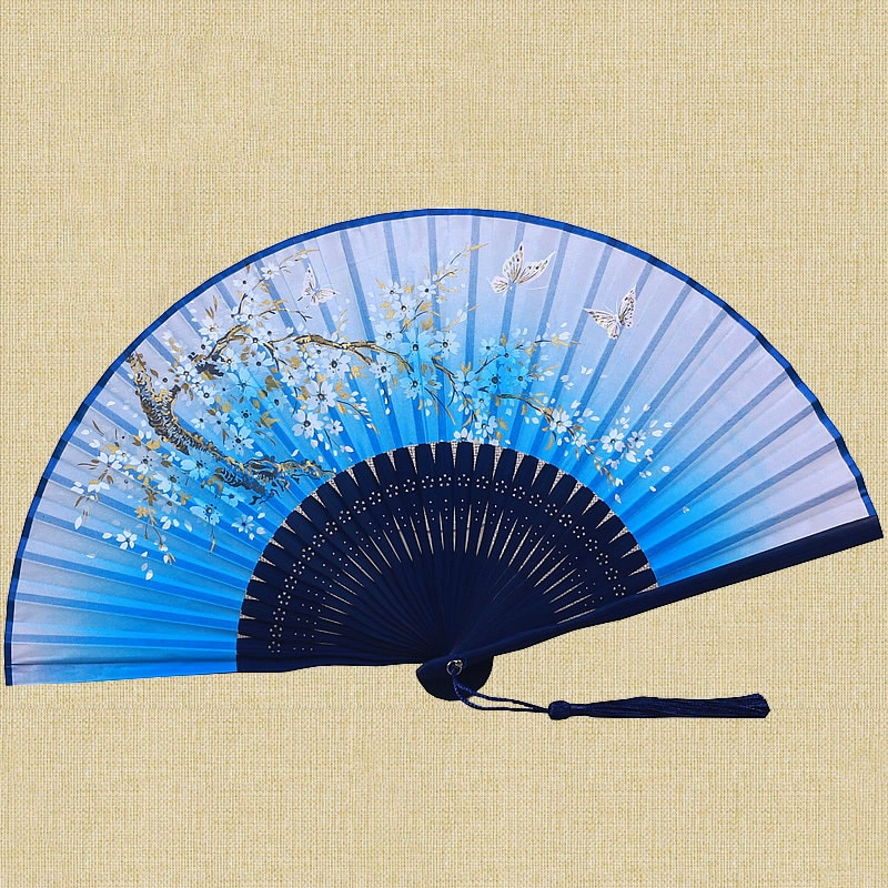 Abanico de mano plegable de bambú Vintage japonés Para mujer, abanico de...