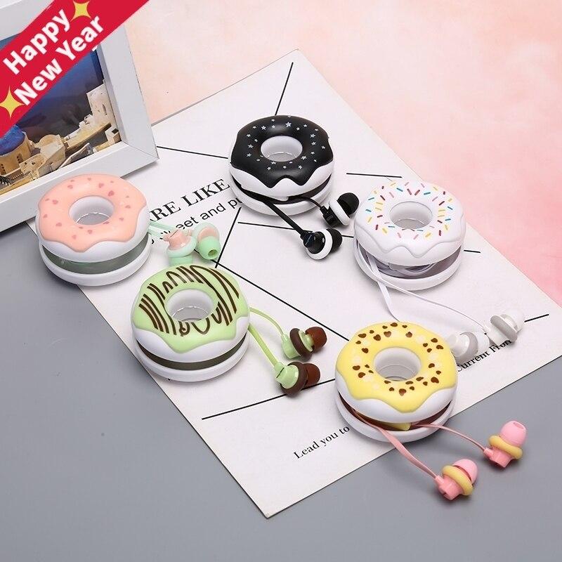 Portable 3.5mm In-Ear Cute Earphones  Macarons Donut Cartoon Earphone Q17 White/Pink/Green/Blue/Black/Mint Green Earplug