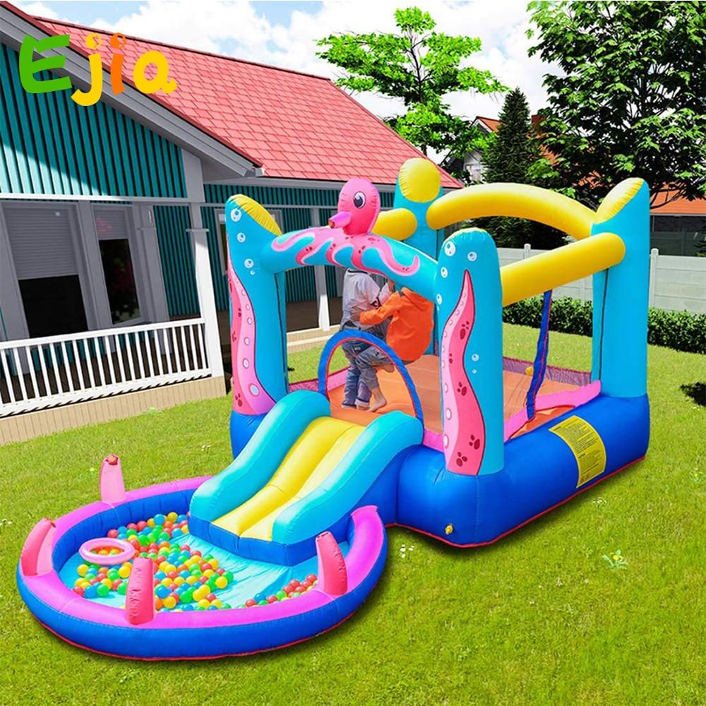 زحليقة عائلية للحديقة ، قلعة نطاطة ، أخطبوط ، ألعاب حمام سباحة للأطفال مع منفاخ هواء
