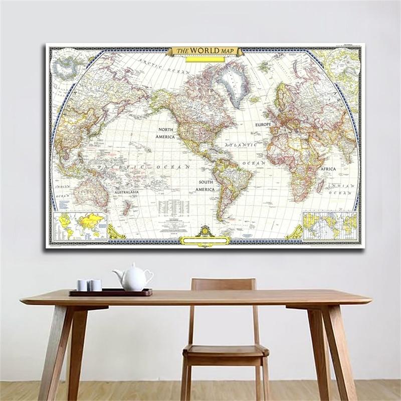 1951 mundo globo mapa A2-59 * 42cm personalizado atlas poster mapa do mundo adesivo de parede decoração para escritório em casa escola suprimentos