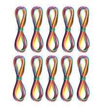 10 adet gökkuşağı oyuncak dize seti parmak gökkuşağı halat beceri oyunu ve hobiler eğitici oyuncaklar çocuk elastik oyunu çocuklar için takım oyun
