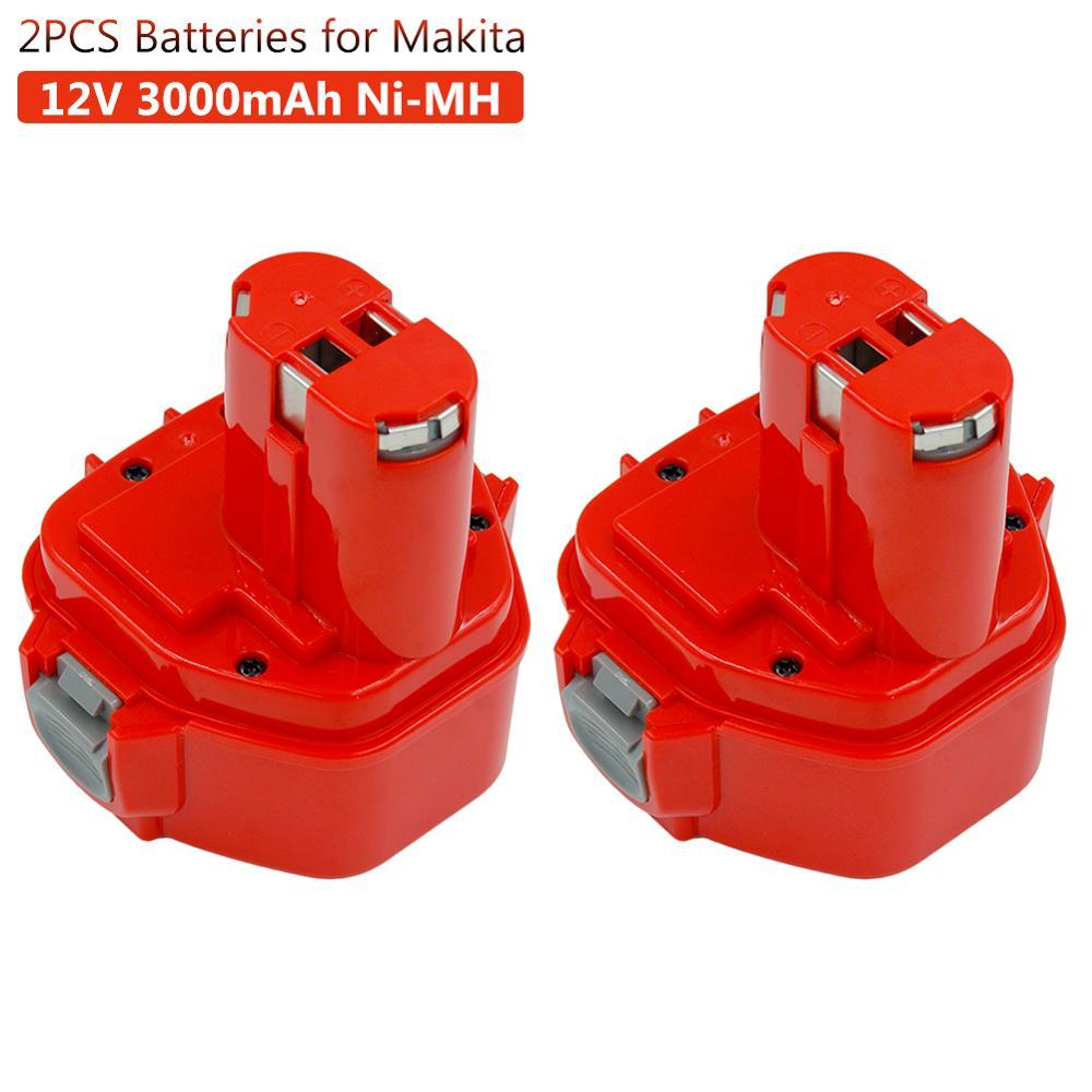 2 uds 3000mAh Ni-MH batería recargable para Makita 12v PA12 1220, 1233, 1222, 1223, 1235 6227D 6313D 6317D 6223D sin batería