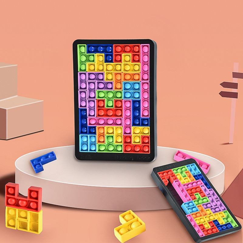 Tetris Jigsaw Popping Fidget Toy Silica gel Its Puzzle Simple Dimple Anti stress Baby Toys For Children Halloween Birthday Gifts