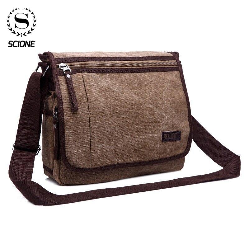 Scione  Canvas Messenger Satchel Bags Buckle Casual Portable Shoulder Bag Korean Trend Simple Pack For Men