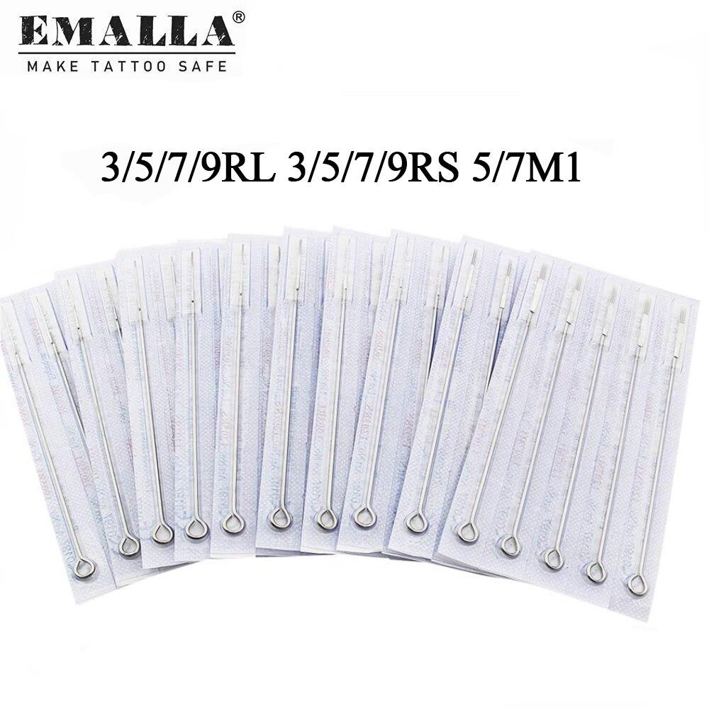 Одноразовые тату-иглы EMALLA, 10 размеров, 3RL, 5RL, 7RL, 9RL, 3RS, 5RS, 7RS, 9RS, 5M1, 7M, 1 шт. 20 шт одноразовые стерильные силиконовые тату ручки 7rs 9rs