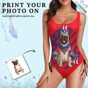 Custom Face Photo Bathing Suit Women Bikini Bra Beach One Piece Pet Flag Hat Personalized Drawstring Side Female Gift Swimwear
