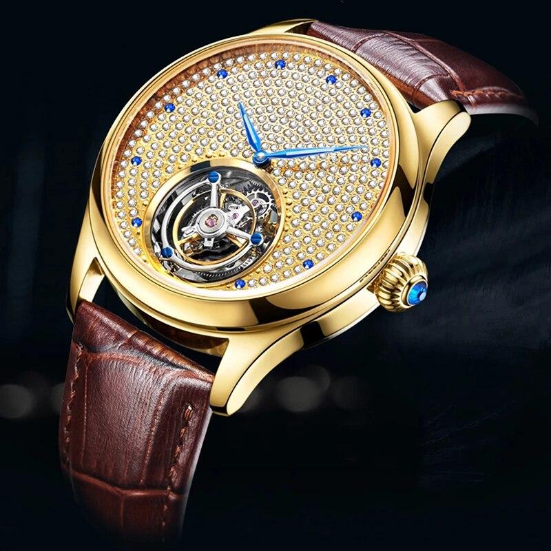 ساعة يد رجالية من ايسوب توربيون ميكانيكية بدون شعار ساعة يد ماركة كريستال كاملة فاخرة ساعات رجالي 2020 هيكل عظمي ساعة يد تعمل بالحركة للرجال