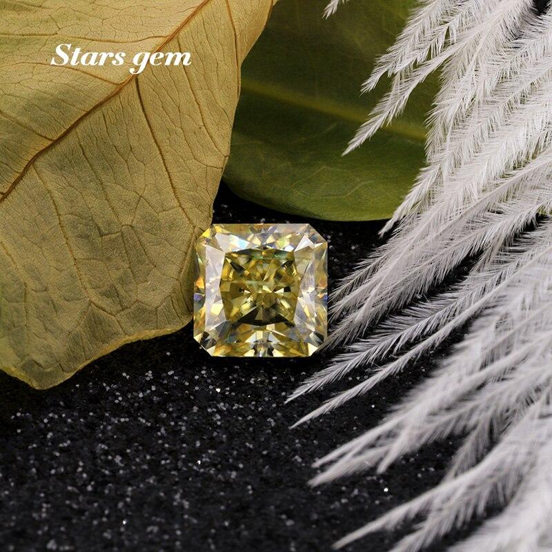 مثمن مربع مشع قطع 7x7 مللي متر اللون الأصفر Moissanites حجر فضفاض لصنع حلقة
