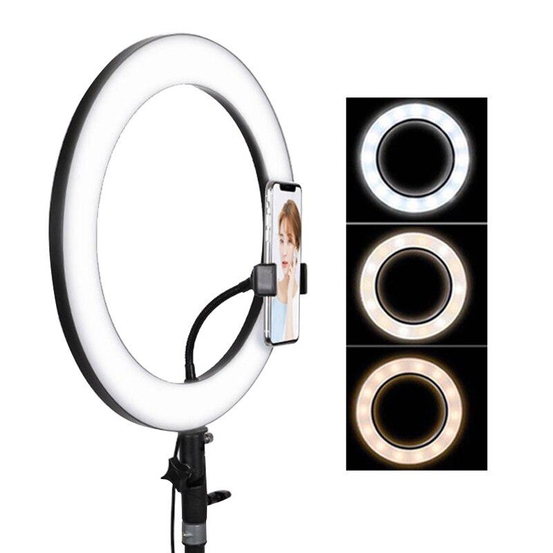 Dimmable 14inch USB LED Selfie Ring Light Lamp Camera Phone Video Photography Beauty Makeup Light for Live Studio UK EU Plug