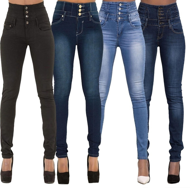 Brand New High Quality Wholesale Woman Denim Pencil Pants Top Brand Stretch Jeans High Waist Pants Women High Waist Jeans
