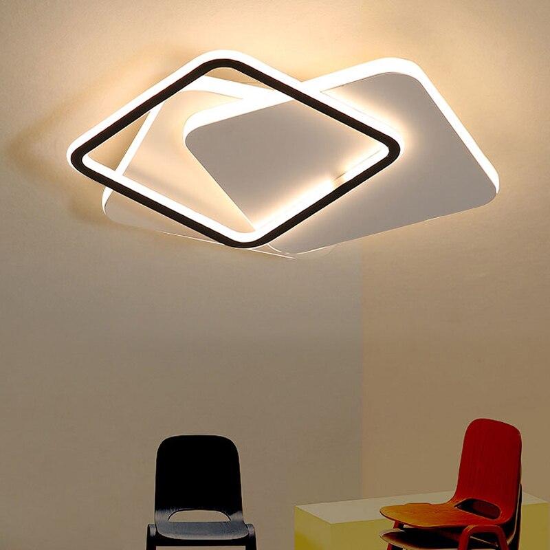 Простой современный светодиодный потолочный светильник, Геометрическая квадратная лампа для гостиной, спальни, теплое креативное Освещен...