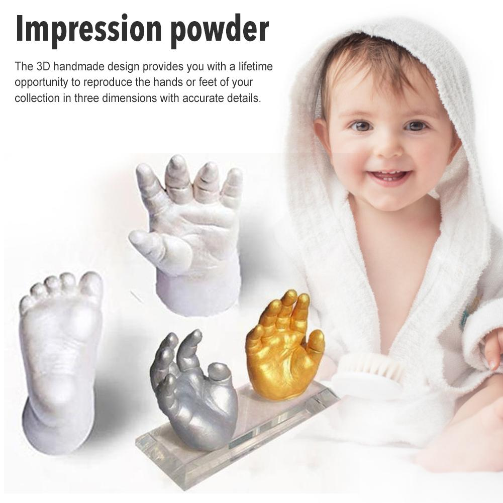 Baby Handprint Footprint Kit 3D Plaster Casting Keepsake Newborn Baby Handprint Footprint Inkless Non-Toxic Touch DIY Photo