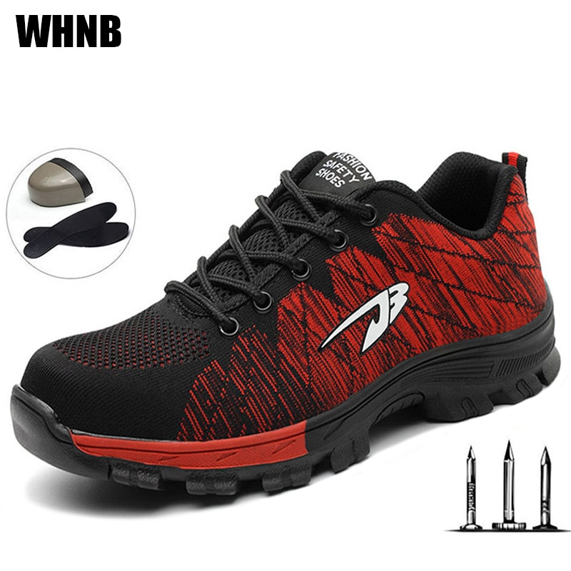 Zapatos de seguridad para hombre, zapatos de protección transpirables para montañismo, zapatos con puntera de acero antideslizantes, botas de trabajo para exteriores, zapatos deportivos de moda