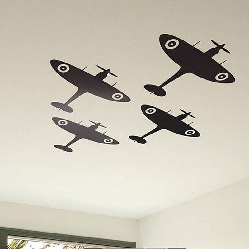 4 pçs spitfire avião teto adesivo de parede do berçário bebê crianças quarto dos desenhos animados lutador militar decalque da parede do vinil decoração