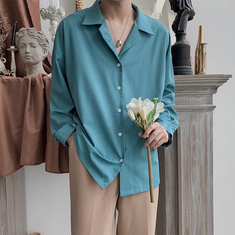 2019 Mens Long Sleeve Hawaiian Shirt Solid Color French Cuff Mens Fashion Clothes Shirts Camisa Masculina Plus Size M-2XL