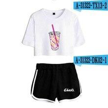 Café de glace éclaboussures femmes deux pièces short + T-shirt costume Harajuku imprimé fleur café de glace Splash Charli Damelio fille costumes