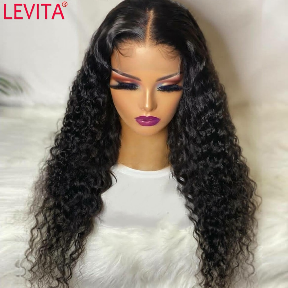 LEVITA Wholesale Deep Wave Wig 4x4 Lace Closure Wig Brazilian Hair Wigs Pre Plucked Lace Front Human Hair Wigs For Black Women
