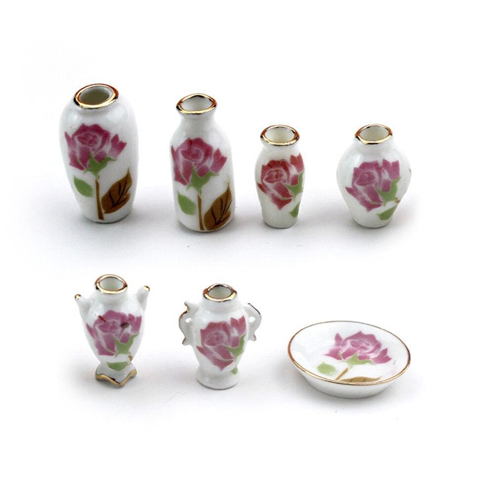 7 Uds 1/12 casa de muñecas miniatura accesorios Mini florero de cerámica set simulación maceta modelo juguetes para decoración de casa de muñecas