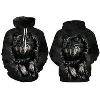 women mens hoodies sweatshirt 3d wolf print jumpers hooded pullover outwear tops