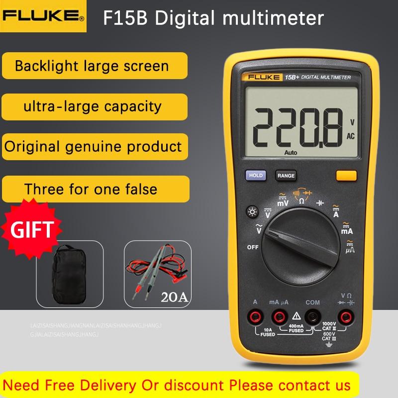 مقياس متعدد رقمي من Fluke طراز 15B +/17B +/18B +/12E + مقياس متعدد تلقائي عدد 4000 عد التيار المتناوب/تيار مستمر مقياس الجهد الحالي المقاومة السعة