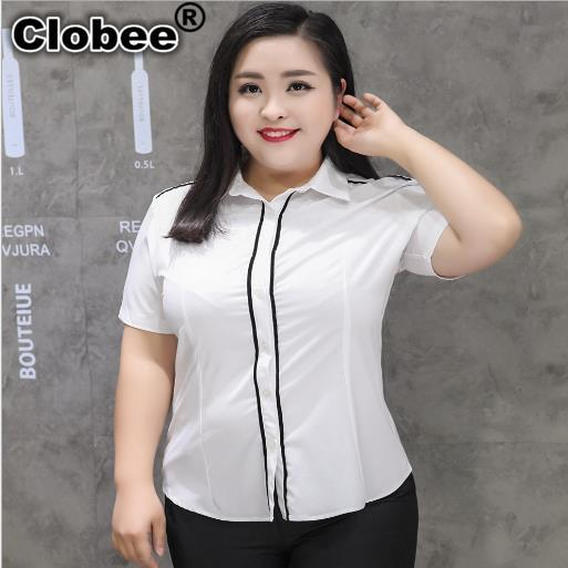 Ropa mujer Camisas Blusas 2020 elegante Oficina señoras blusa Camisas manga corta blanco Formal mujer túnica camisas de talla grande M305