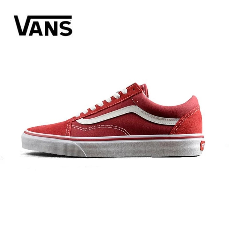 Vans Old Skool de lona de los hombres zapatillas de deporte Rojo...