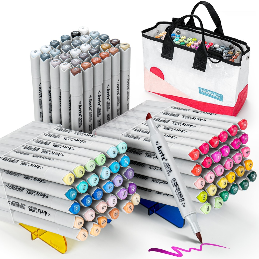 90 Colors Alcohol Brush Markers Arrtx OROS Brush & Chisel Tips Art Markers with Portable Woven Bag For Beginners And Artist