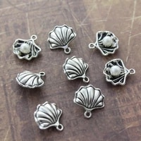 1020pcs diy antique silver pearl in shell conch charms pendants nautical jewelry making dangle 1515mm