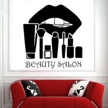 Unhas de beleza salão beleza adesivos parede cílios maquiagem ferramenta esteticista decalques da parede do vinil para salão beleza decoração poster z795