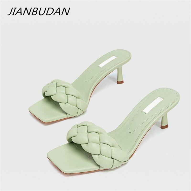 JIANBUDAN 2020 New Design Weave Women Slipper Ladies Thin Heels Sandal Open Toe Summer Outdoor Slides female Flip Flop Shoes