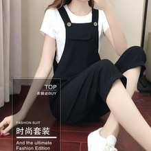 Fat Girl Spring and Summer Loose Slimming Joint plus Size Cotton Linen Cropped Suspender T-shirt Cas