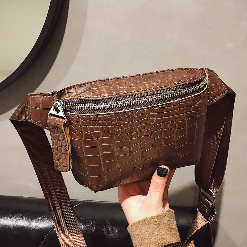 Crocodile Pattern PU Leather Fanny Packs For Women 2021 New Fashion Ladies Waist Bags Female Small Belt Bag Girls Shoulder Bag
