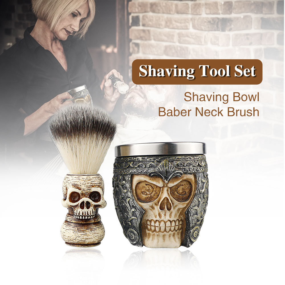 Barber Shop Fashion High-end Skull Design Shaving Brush Foaming Soap Bowl Set Men's Beard Facial Cleansing Tool Shaving Tool Set