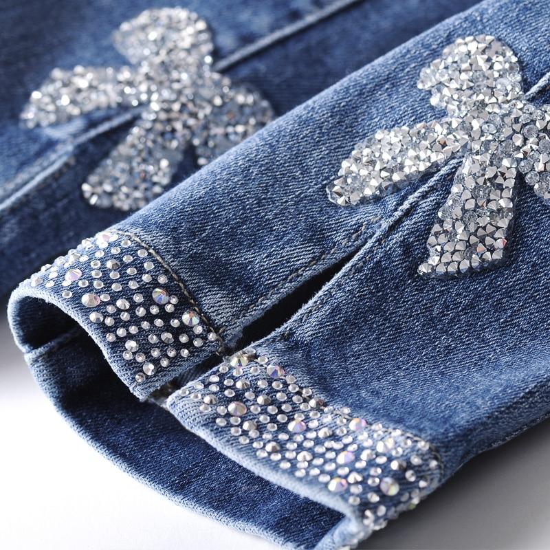 Vaqueros de lujo para mujer 2020, con diamantes de imitación, vaqueros para mujer, pantalones pitillo elásticos Vintage 2070
