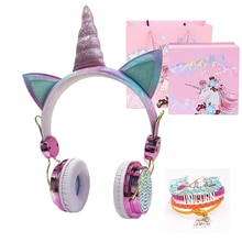 Funny Kids Headset Colorful Diamond Unicorn Headphones Girls Music Helmet Wired Earphones With Gifts