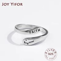 925 sterling silver rings for women cross faith letters wedding trendy jewelry large adjustable antique rings anillos