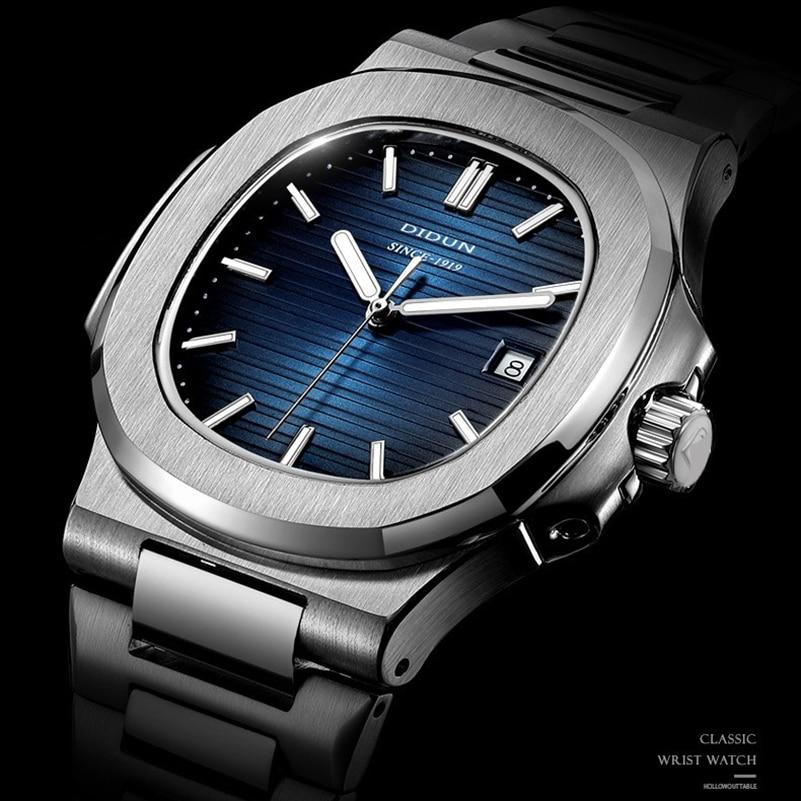 DIDUN Luxury Brand Quartz Watches Men Stainless Steel Military  Luxury Band Watch Causal Fashion Wri