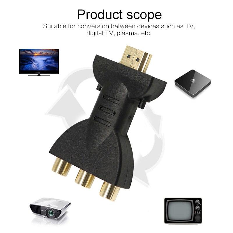 Oro nuevo Chapado en HDMI a 3 RGB Video RCA de Audio adaptador AV componente convertidor 720P 1080P señal Digital para HDTV DVD Cable de Audio