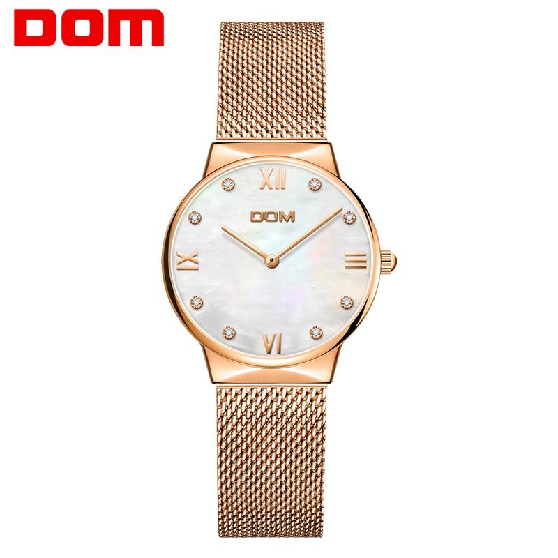 نساء ساعات DOM العلامة التجارية الفاخرة موضة كوارتز ساعة السيدات على مدار الساعة فستان ذهبي وردي عادية فتاة relogio feminino الساعات النساء G-32