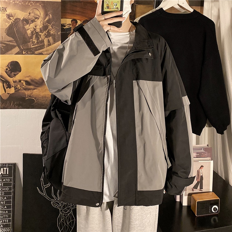 Autumn Brand Ins Color Matching Overalls Male Korean Fashion Student All-Matching Loose Casual Baseb