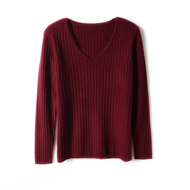 2021 woman winter 100% Cashmere sweaters knitted Pullovers jumper Warm Female V-neck blouse blue long sleeve clothing enlarge