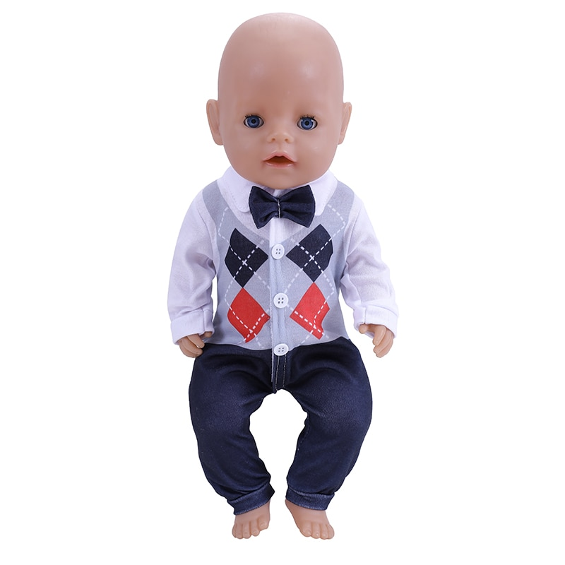 2021 New Baby New Born Fit 18 inch 43cm Doll Clothes Accessories Plaid Clothes Suit For Baby Birthda