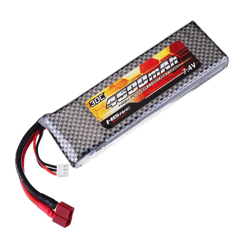 Hg 7.4 v 4500 mah 30c 2 s lipo bateria t plug para p402 p407 p601 p801 p802 1/10 1/12 rc peças de carro qdbz1001 lipo bateria