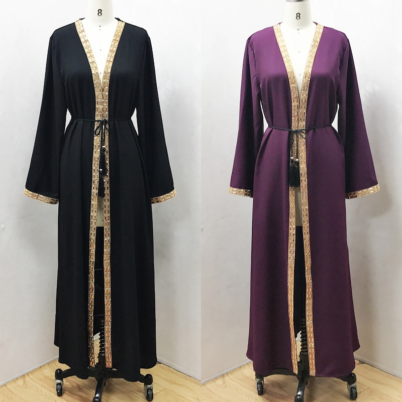 F864New muslim dress abayas for women baju muslim wanita moroccan robe orientale musulman abaya robe dubai