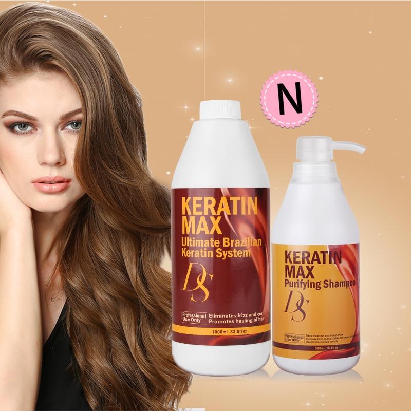 Купить с кэшбэком Professional Best Selling 1000ml DS Max Brazilian Keratin Treatment 5% Formalin+500ml Purifying ShampooStraighten Smooth Hair